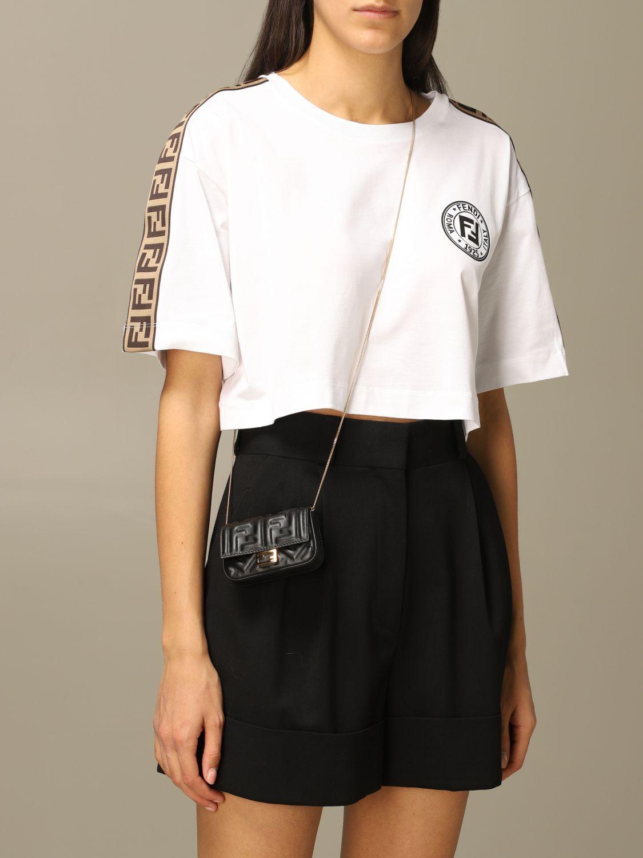 Mini sac à main Fendi: Sac en cuir Baguette nano Fendi avec logo FF gaufré noir 2