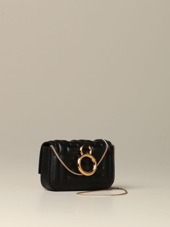 Mini sac à main Fendi: Sac en cuir Baguette nano Fendi avec logo FF gaufré noir 3