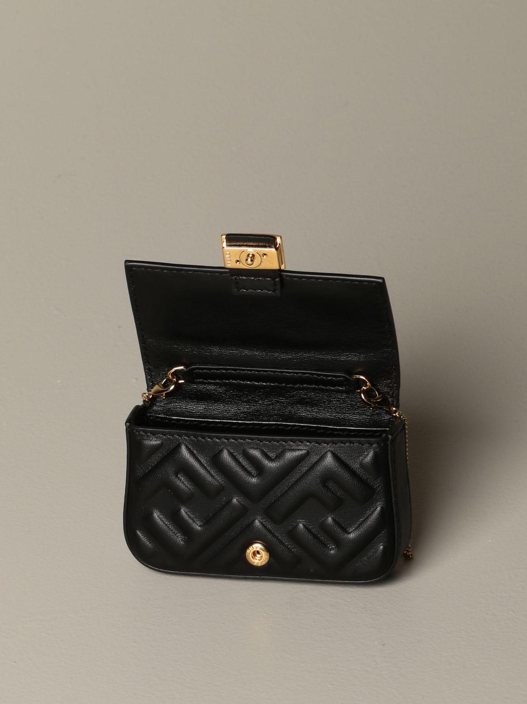 Mini sac à main Fendi: Sac en cuir Baguette nano Fendi avec logo FF gaufré noir 5