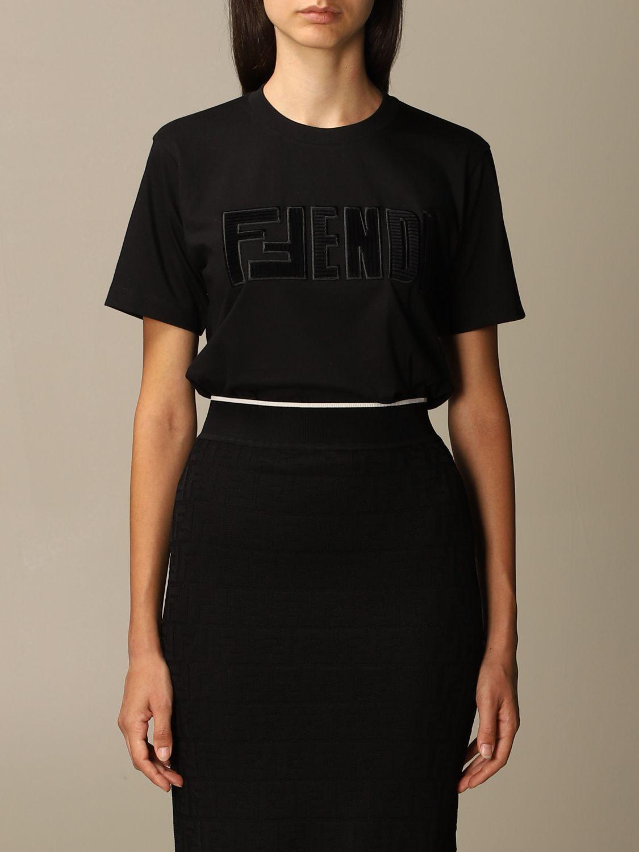 T-Shirt Fendi: Fendi cotton T-shirt with FFendi logo black 1