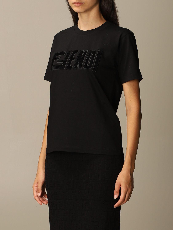 T-Shirt Fendi: Fendi cotton T-shirt with FFendi logo black 4