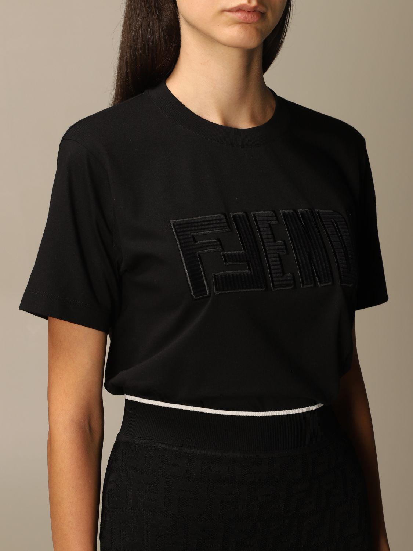 T-Shirt Fendi: Fendi cotton T-shirt with FFendi logo black 5