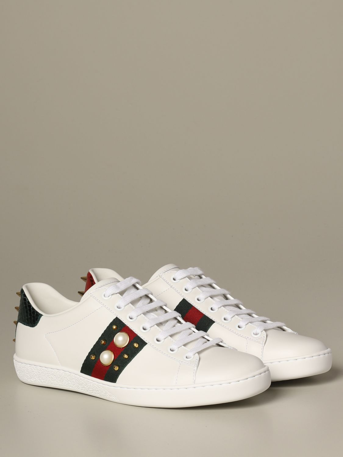 Gucci Ace leather sneakers with pearls