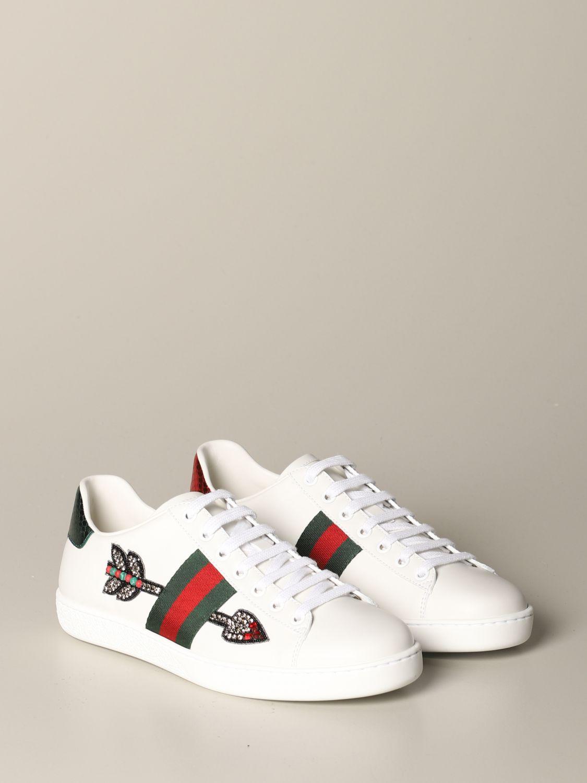 Sneakers Gucci: Sneakers Ace Gucci in pelle con patch freccia bianco 2