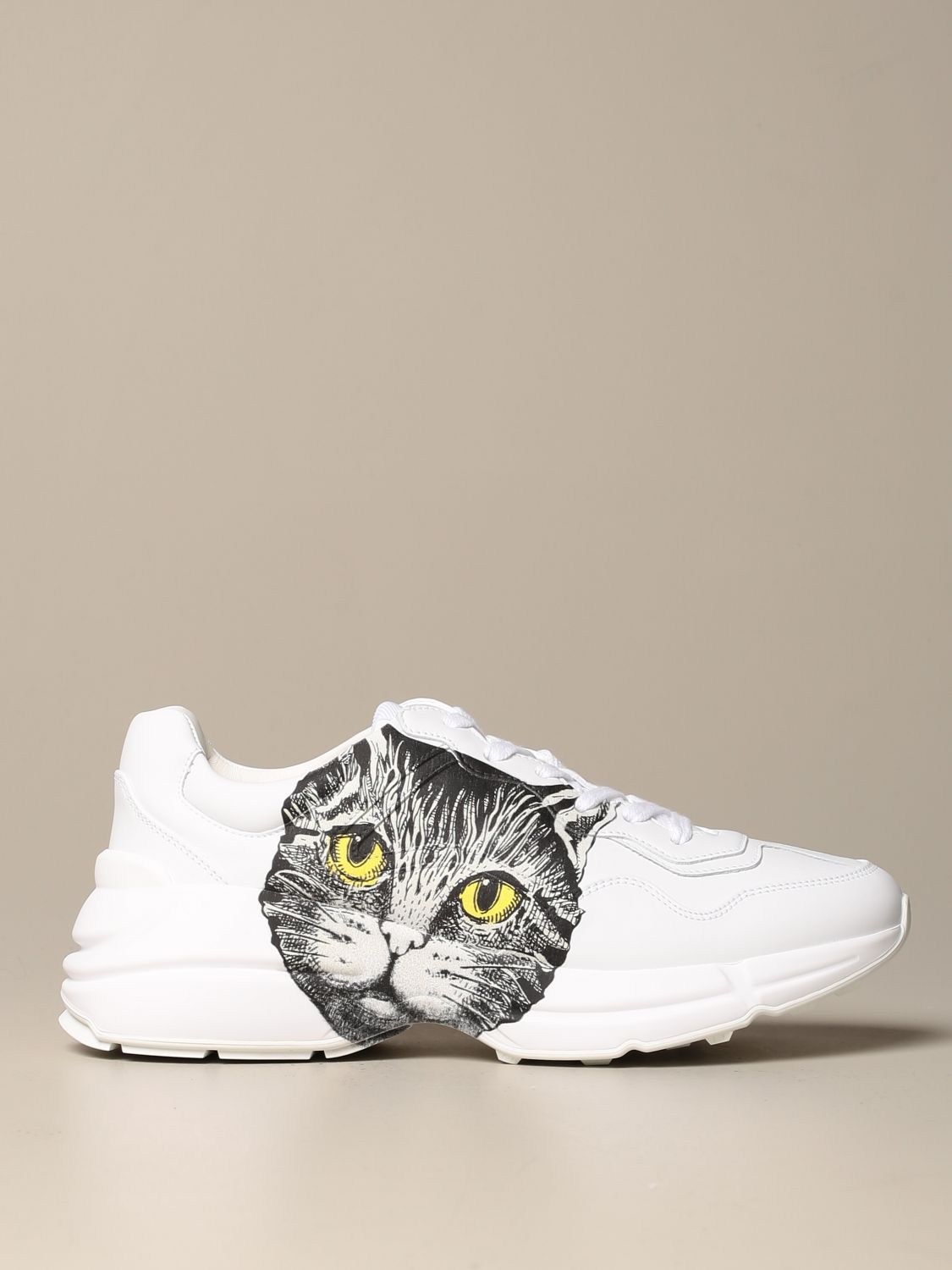 Sneakers Gucci: Rhyton Gucci sneakers in leather with cat print white 1