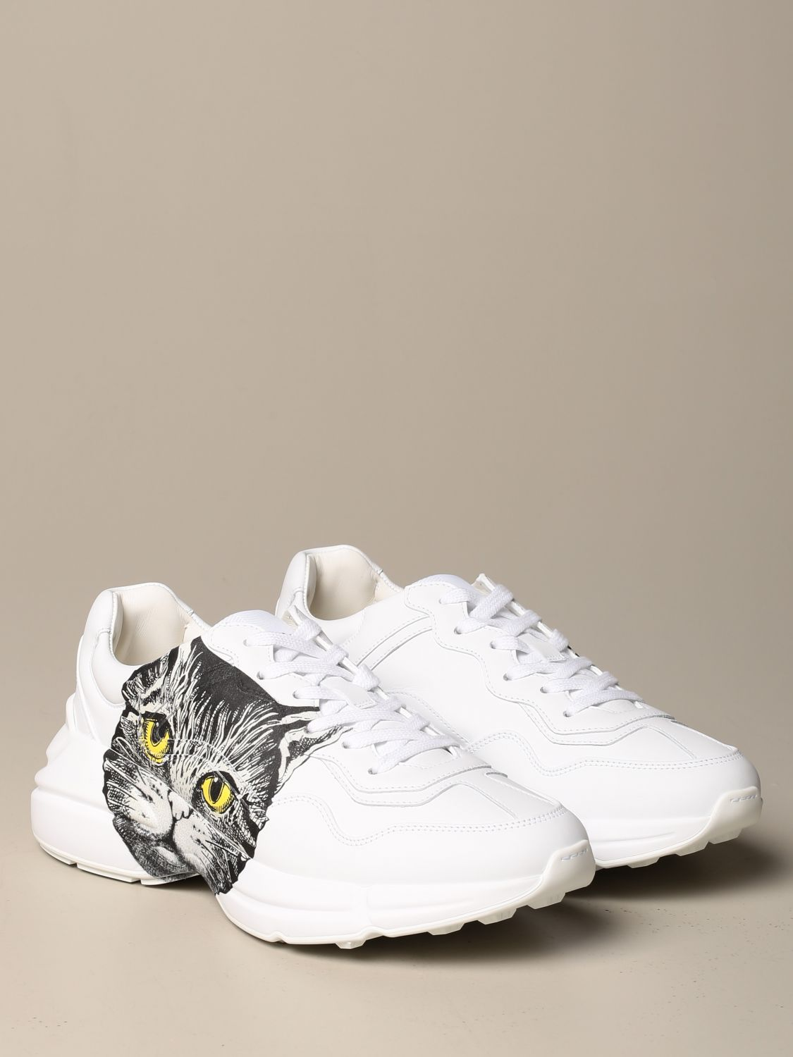 Sneakers Gucci: Rhyton Gucci sneakers in leather with cat print white 2