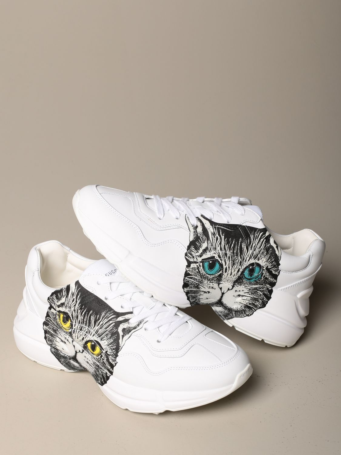 Sneakers Gucci: Rhyton Gucci sneakers in leather with cat print white 4