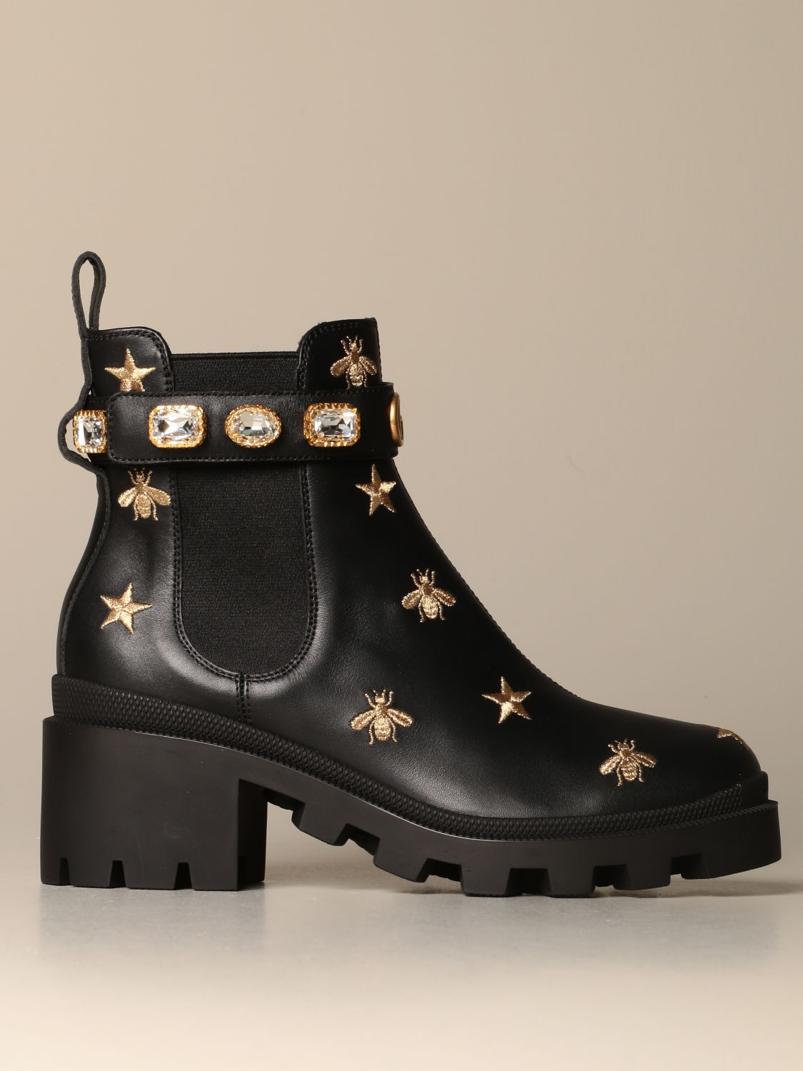 Gucci ankle boot in leather with bee