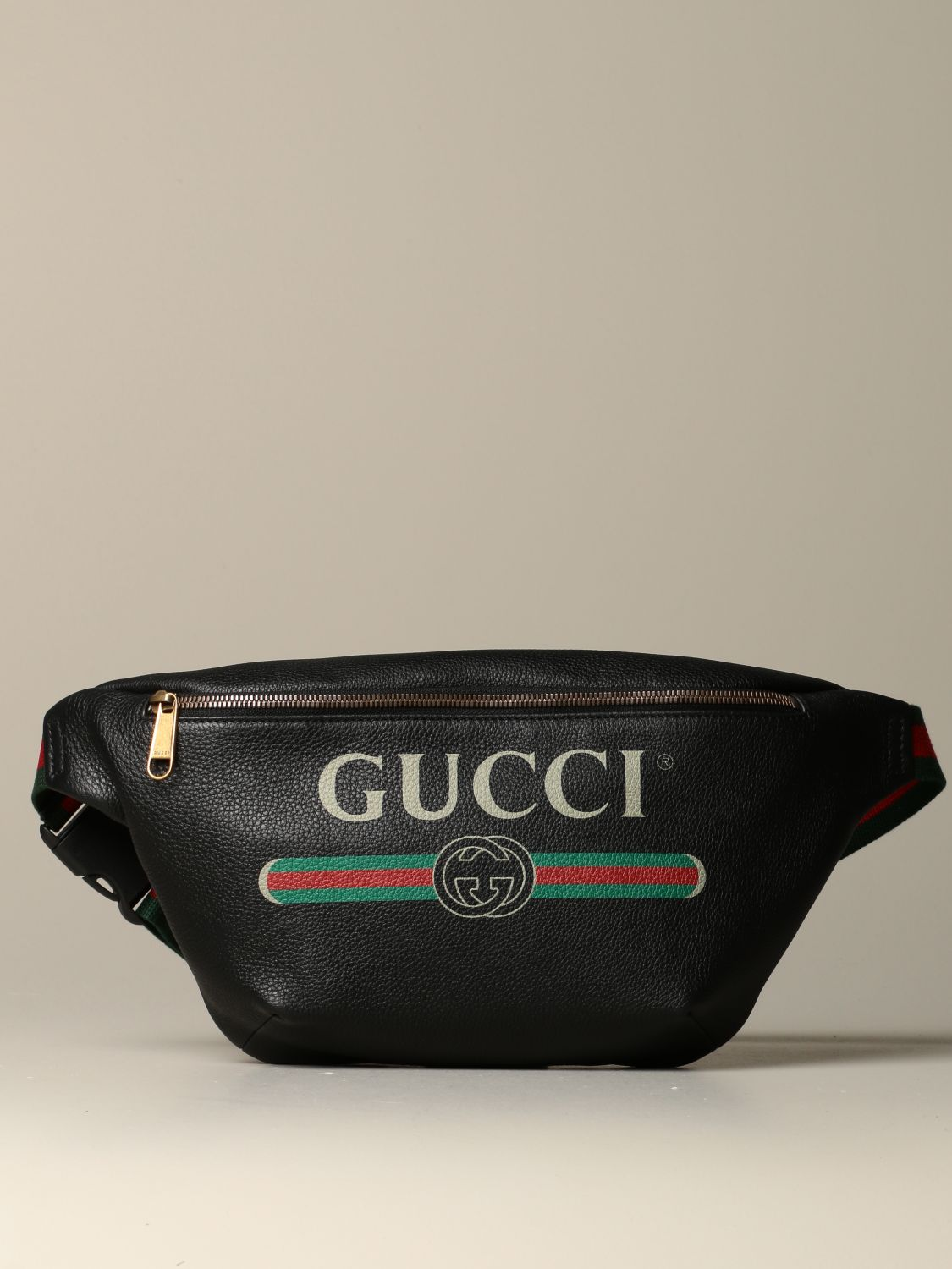 Belt bag Gucci: Gucci Print pouch in textured leather black 1