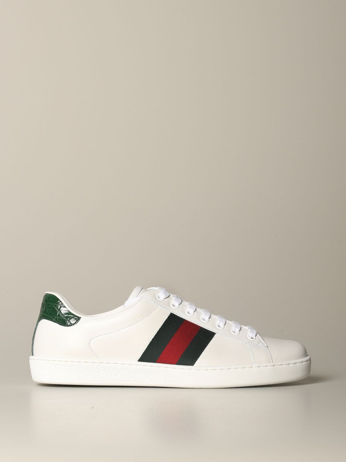 Sneakers Gucci: Gucci Ace leather sneakers with Web bands white 1
