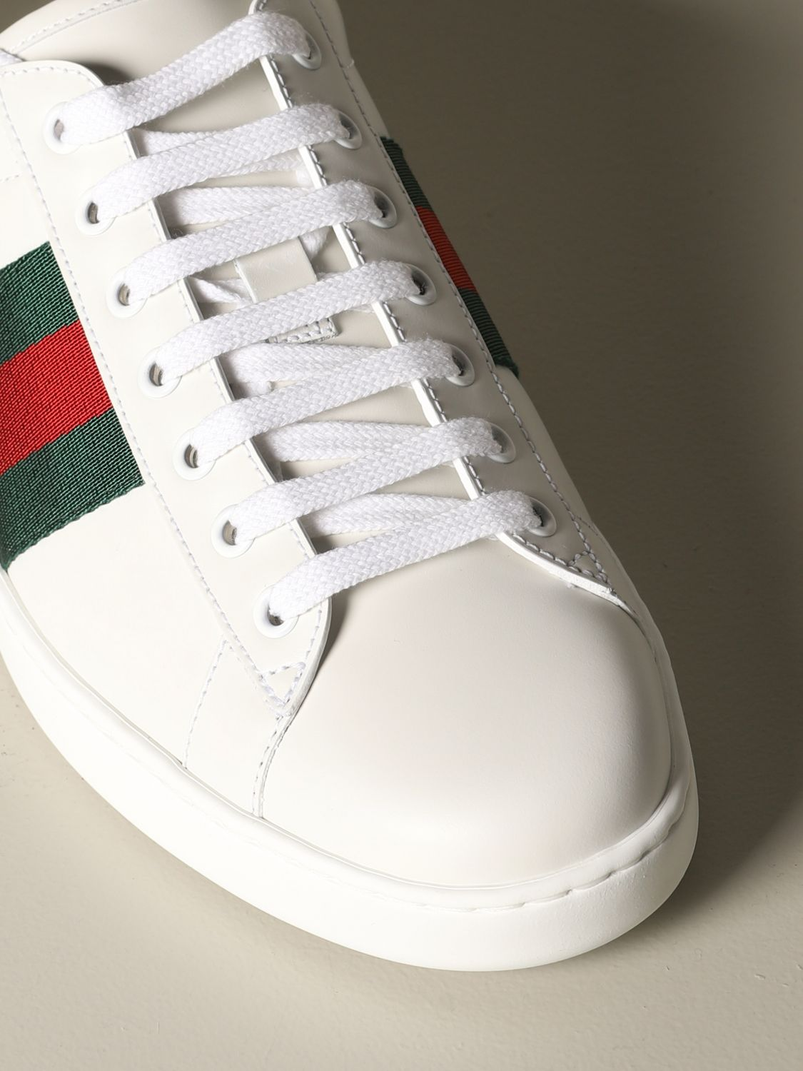 Sneakers Gucci: Gucci Ace leather sneakers with Web bands white 3