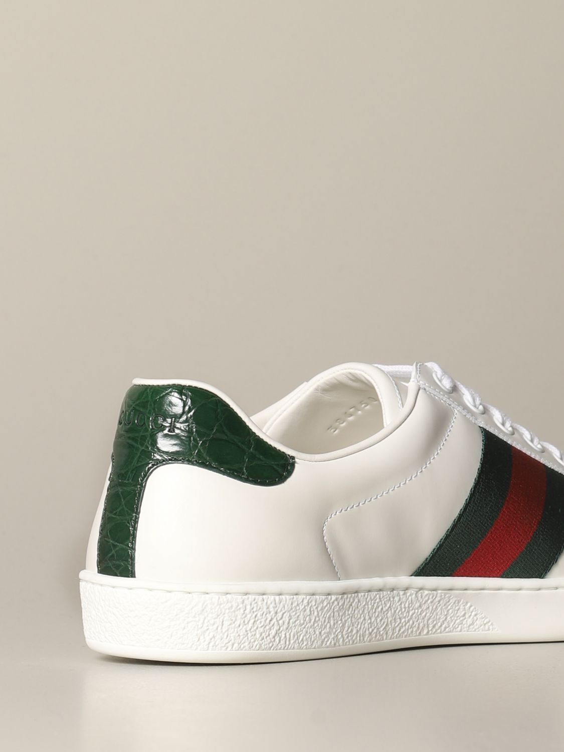 Sneakers Gucci: Gucci Ace leather sneakers with Web bands white 4