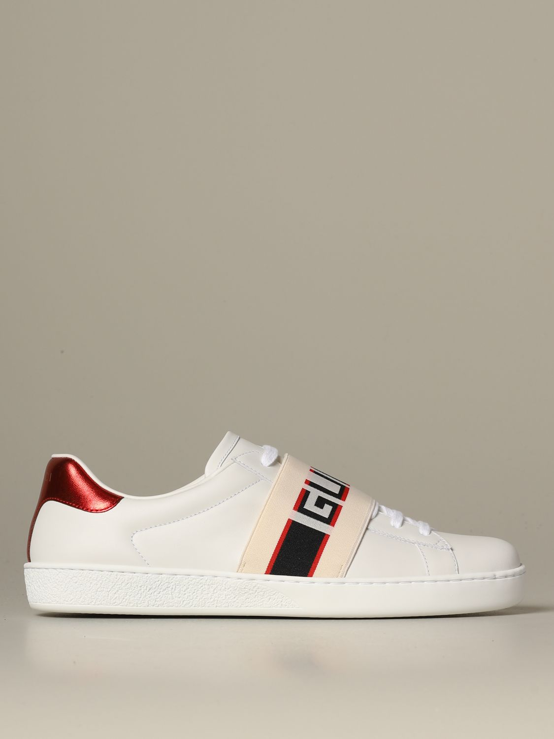 Sneakers Gucci: Gucci New ace leather sneakers with Gucci Sport elastic band white 1