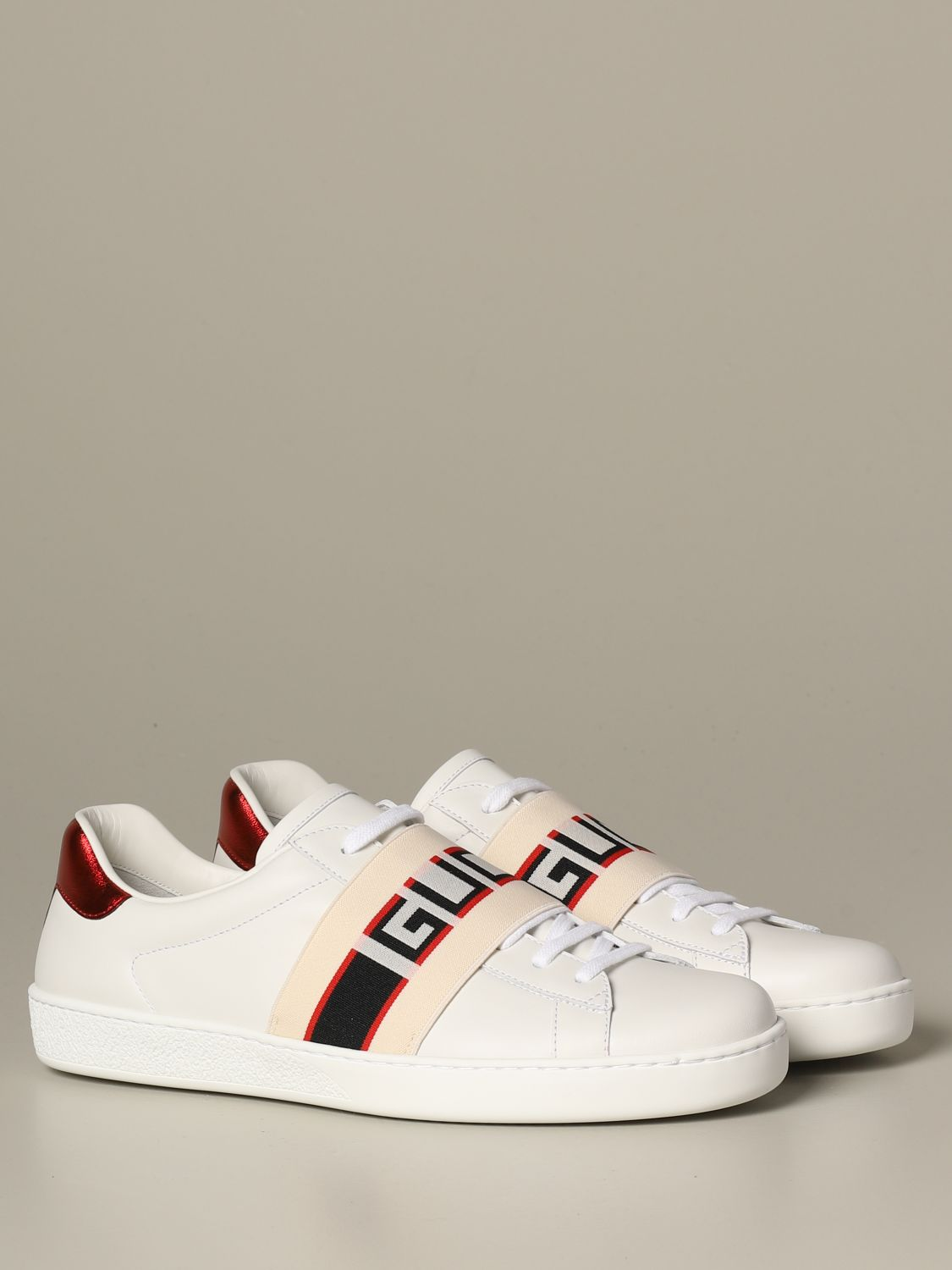 Sneakers Gucci: Gucci New ace leather sneakers with Gucci Sport elastic band white 2