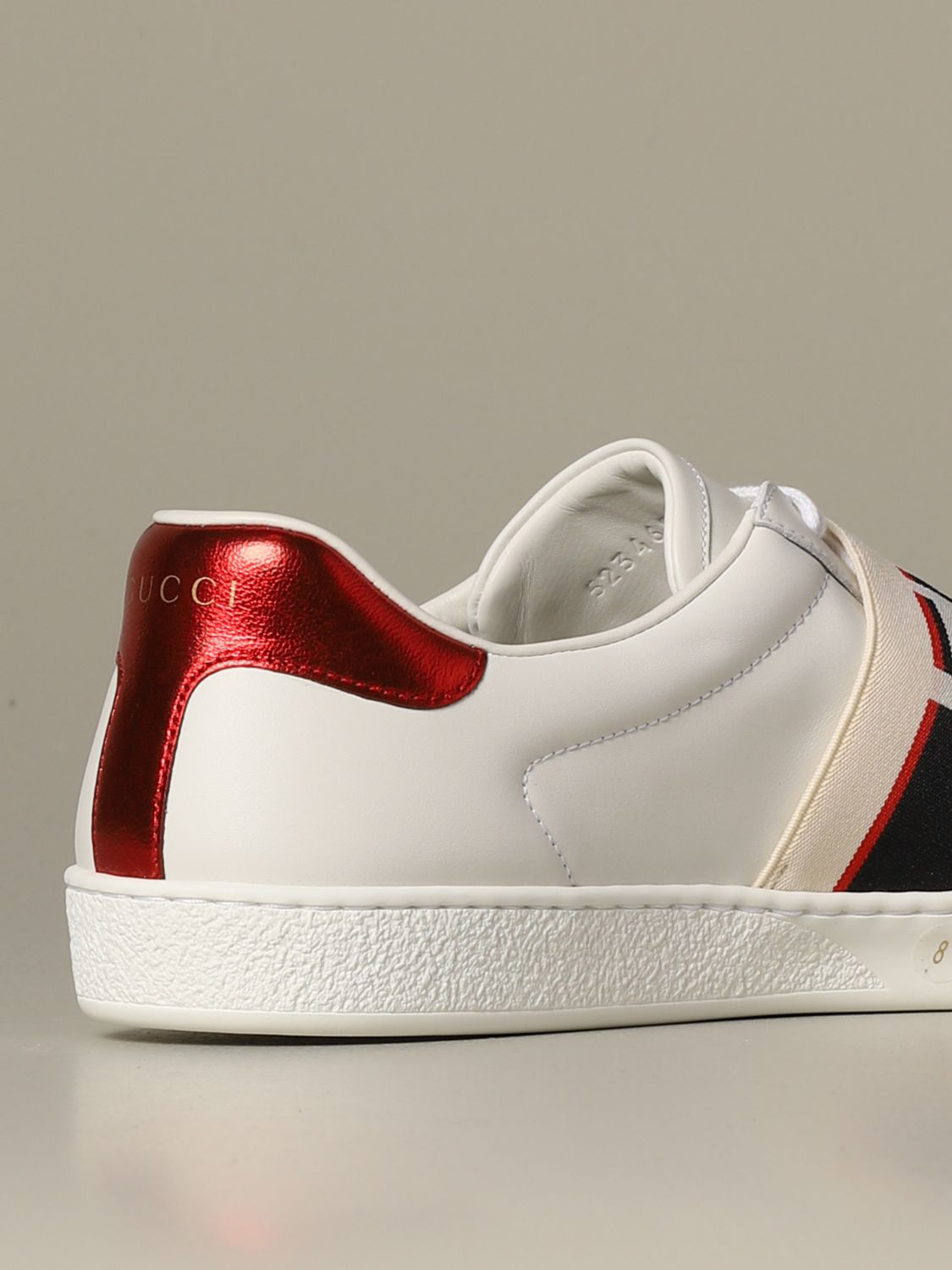 Sneakers Gucci: Gucci New ace leather sneakers with Gucci Sport elastic band white 3