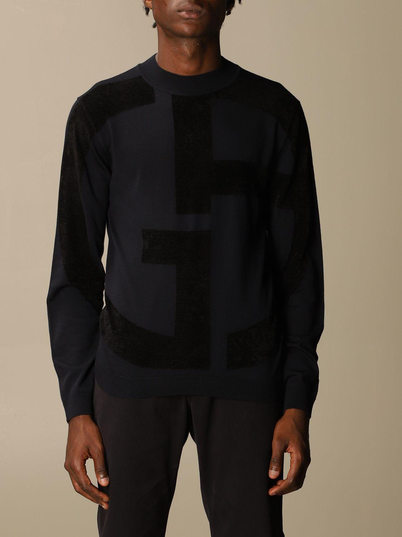 Sweater Giorgio Armani: Giorgio Armani sweater in virgin wool with big logo blue 1