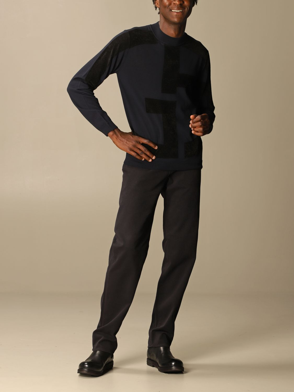Sweater Giorgio Armani: Giorgio Armani sweater in virgin wool with big logo blue 2
