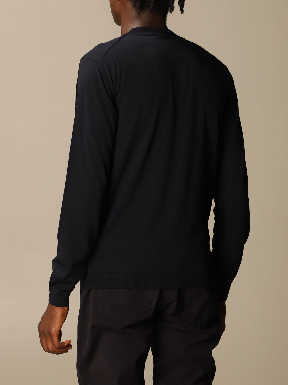 Sweater Giorgio Armani: Giorgio Armani sweater in virgin wool with big logo blue 3