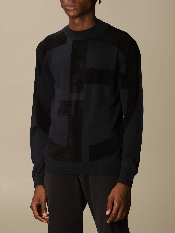 Sweater Giorgio Armani: Giorgio Armani sweater in virgin wool with big logo blue 4