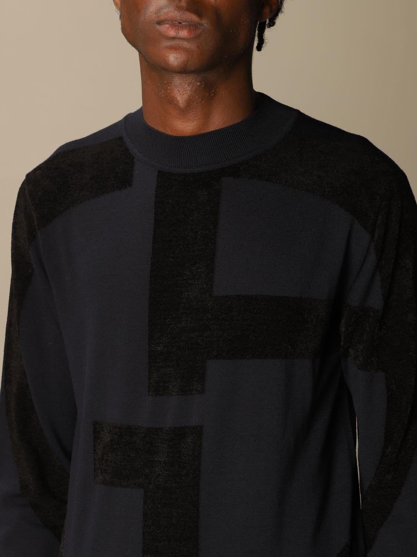 Sweater Giorgio Armani: Giorgio Armani sweater in virgin wool with big logo blue 5