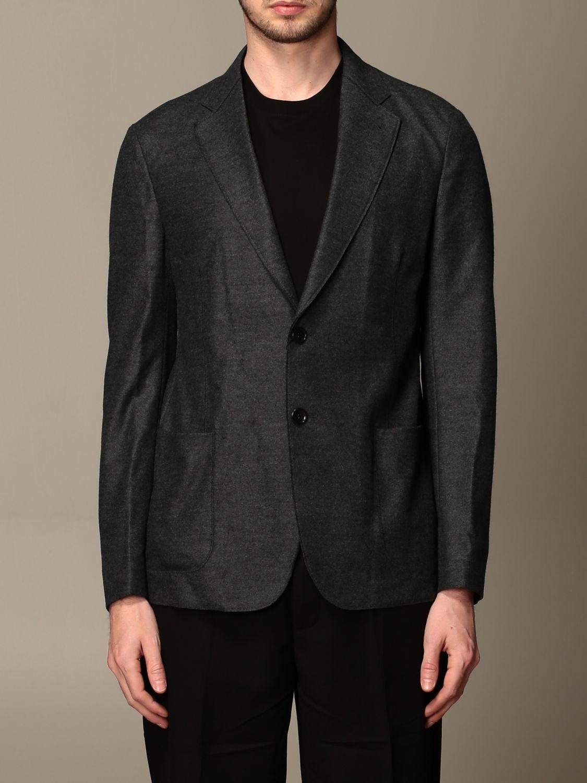 Blazer Giorgio Armani: Giacca Giorgio Armani in jersey di lana antracite 1