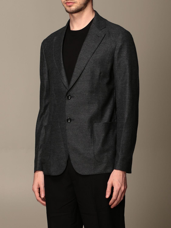 Blazer Giorgio Armani: Giacca Giorgio Armani in jersey di lana antracite 4