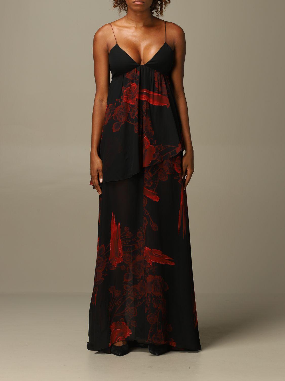 Dress Just Cavalli: Just Cavalli long dress with rose pattern black 1