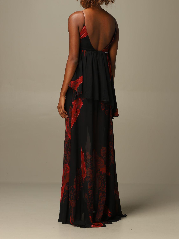 Dress Just Cavalli: Just Cavalli long dress with rose pattern black 2
