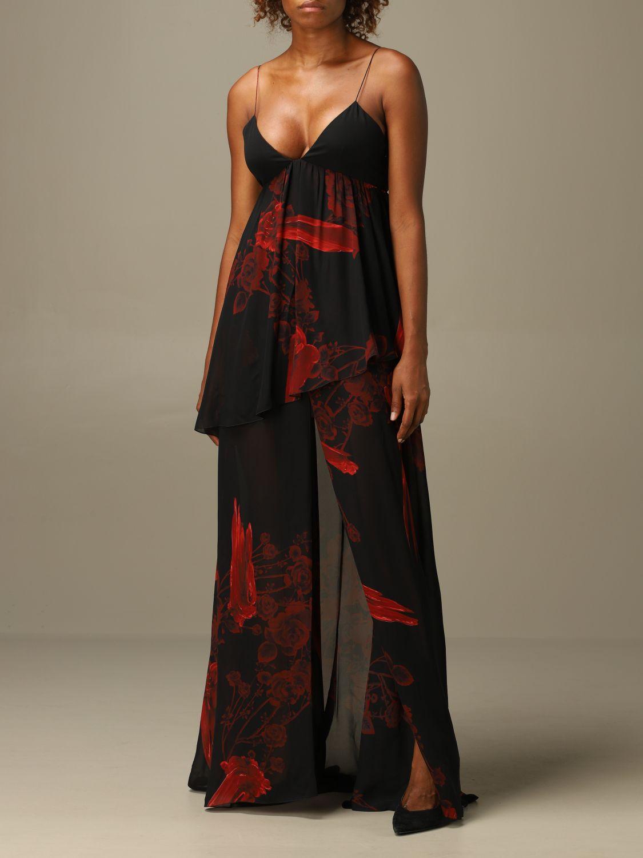 Dress Just Cavalli: Just Cavalli long dress with rose pattern black 3