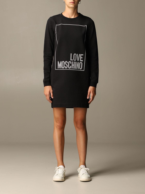 Abito Love Moschino: Abito a felpa Love Moschino con logo nero 1