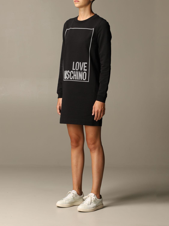 Abito Love Moschino: Abito a felpa Love Moschino con logo nero 3