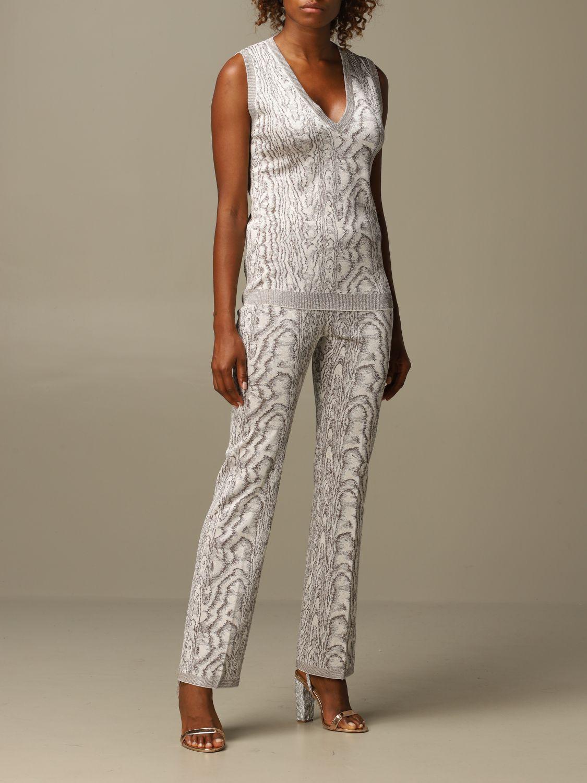 Pantalone Missoni: Pantalone Missoni ampio in viscosa marmorizzata panna 2