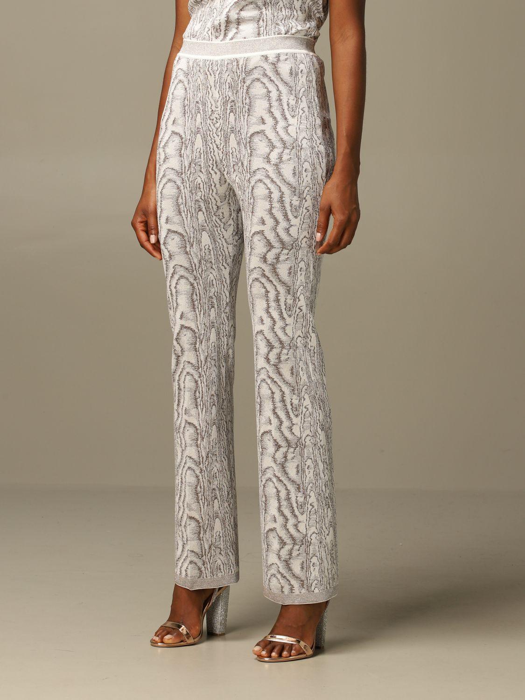 Pantalone Missoni: Pantalone Missoni ampio in viscosa marmorizzata panna 4
