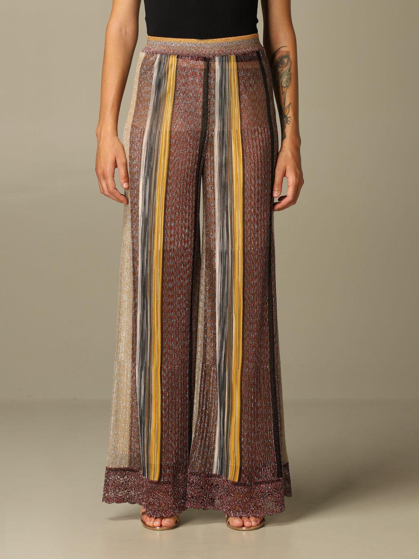 Pantalone Missoni: Pantalone Missoni ampio in maglia lurex a righe bronzo 1