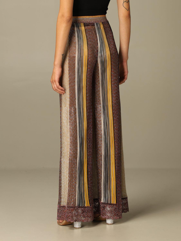 Pantalone Missoni: Pantalone Missoni ampio in maglia lurex a righe bronzo 2