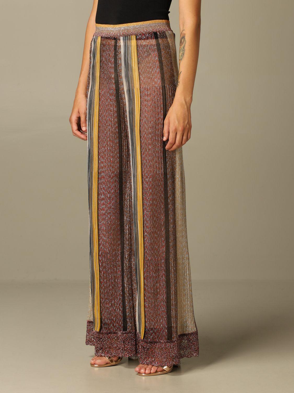 Pantalone Missoni: Pantalone Missoni ampio in maglia lurex a righe bronzo 3