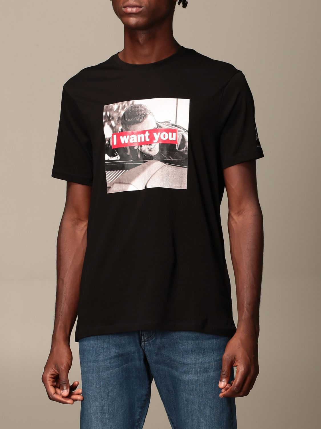 T-shirt Armani Exchange: Armani Exchange T-shirt with I want you print black 4