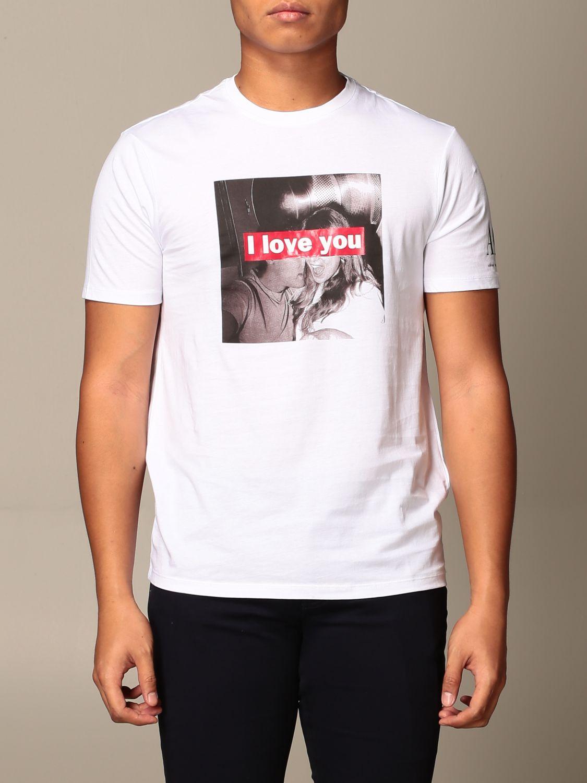 T-shirt Armani Exchange: T-shirt Armani Exchange con stampa i love you bianco 1