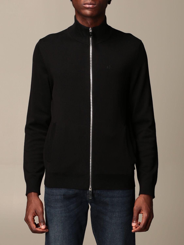 Cardigan Armani Exchange: Full zip basic wool black 1