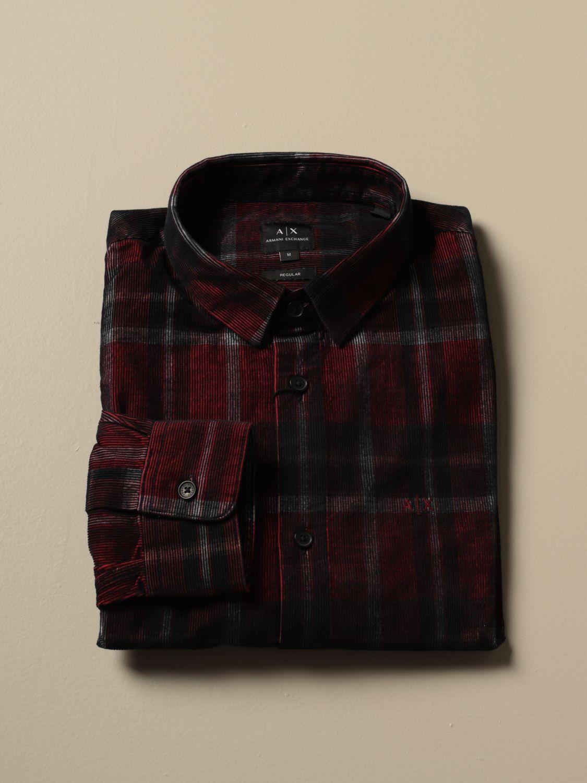 Camicia Armani Exchange: Camicia Armani Exchange in velluto check rosso 1