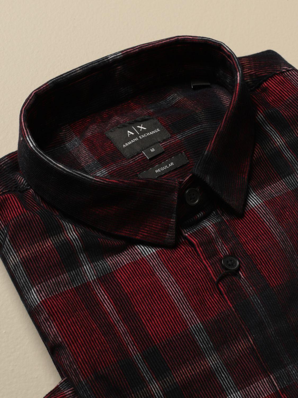 Camicia Armani Exchange: Camicia Armani Exchange in velluto check rosso 2