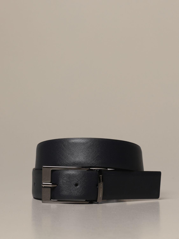 Cintura Armani Exchange: Cintura Armani Exchange in pelle liscia e saffiano reversibile blue 1