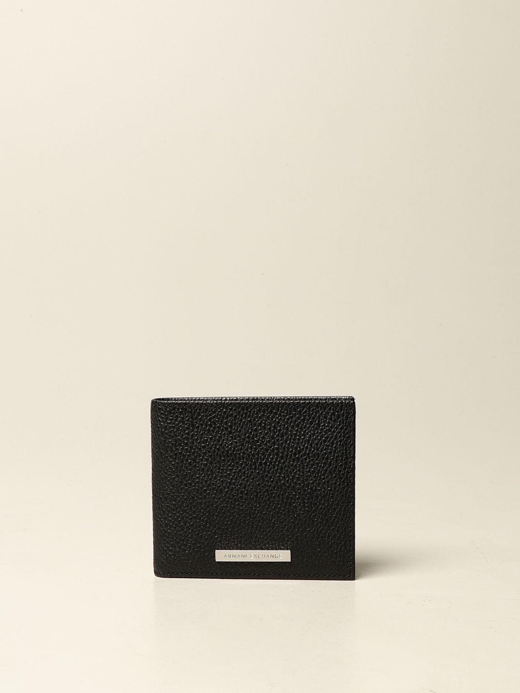 Portafoglio Armani Exchange: Portafoglio Armani Exchange in pelle martellata nero 1