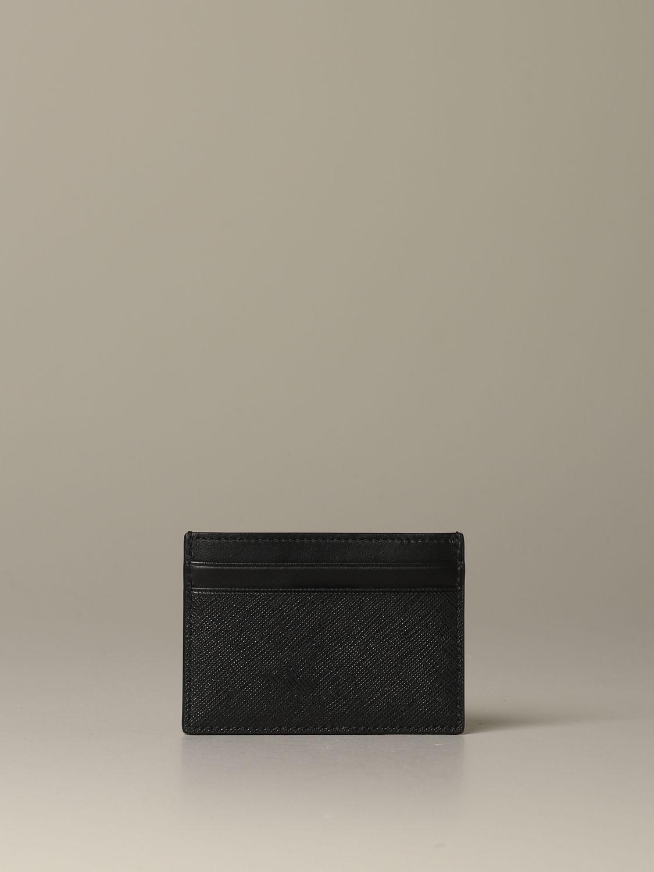 Portafoglio Bally: Porta carte di credito Bhar.of Bally in tela spalmata con trainspotting nero 1