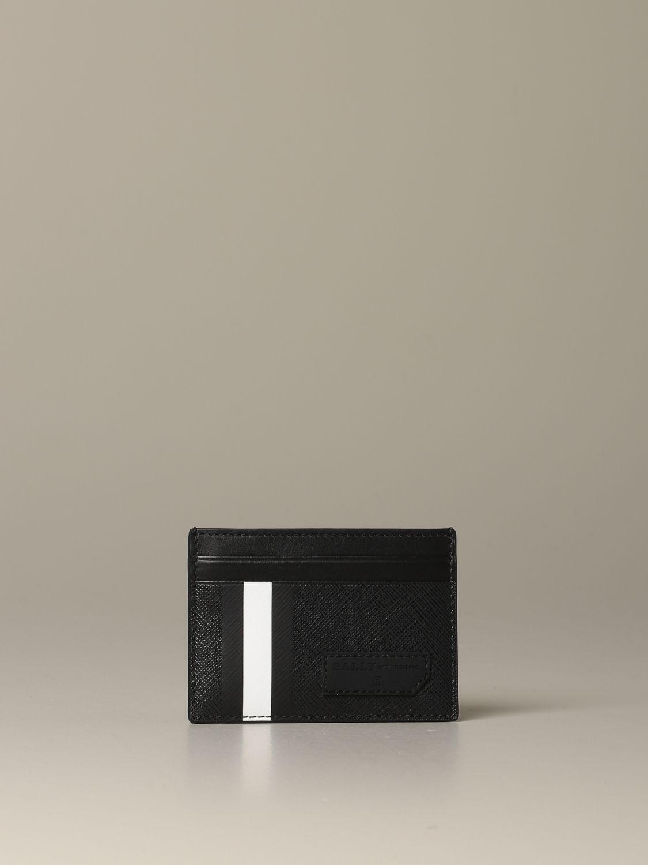 Portafoglio Bally: Porta carte di credito Bhar.of Bally in tela spalmata con trainspotting nero 2