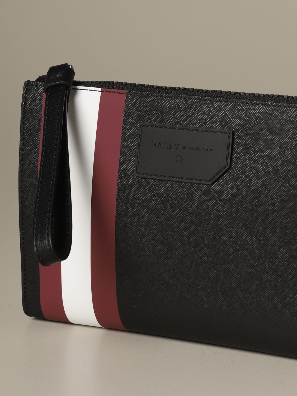 Briefcase Bally: Skid Bally clutch bag in coated canvas with trainspotting red 3