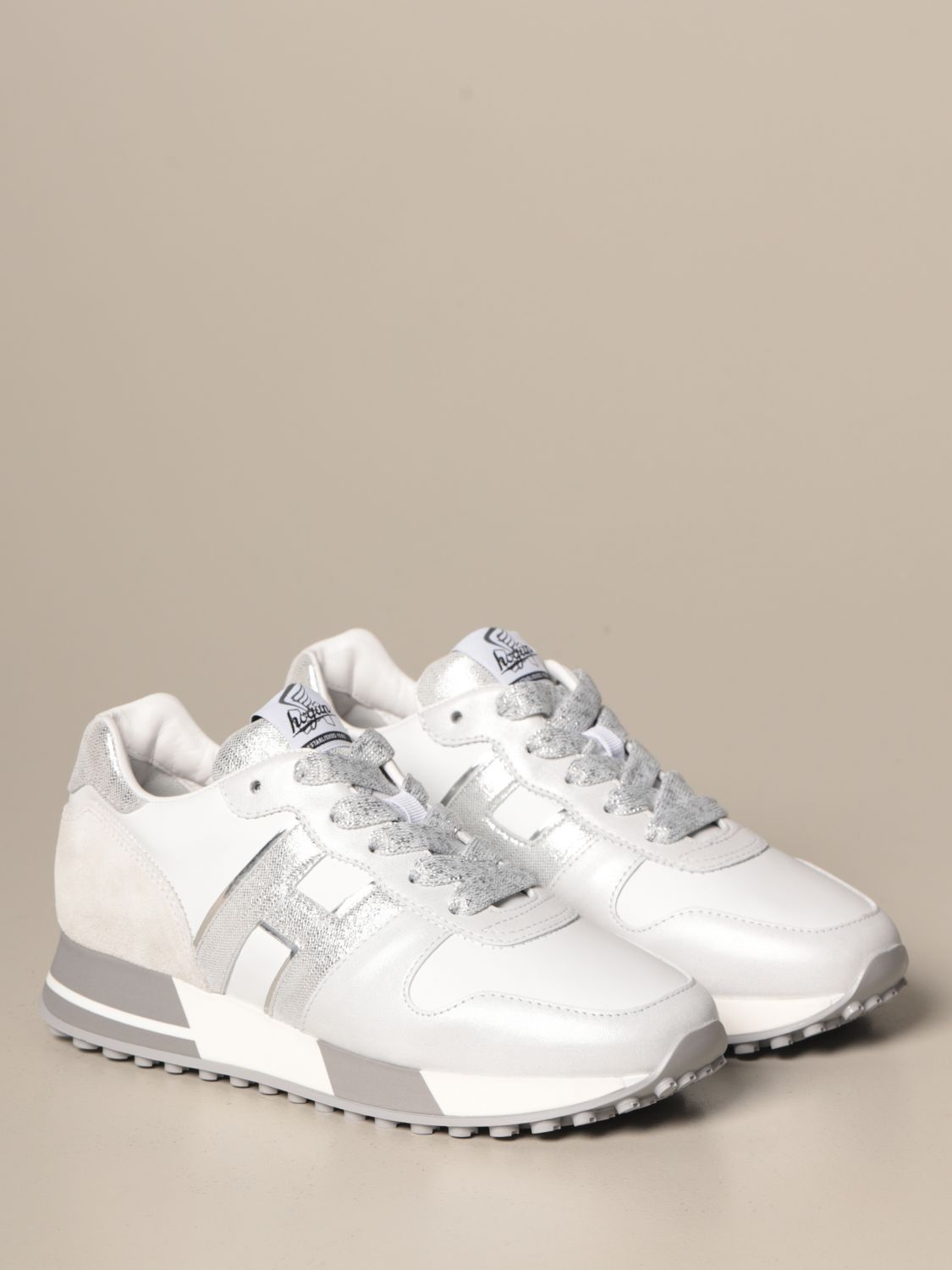 H383 running Hogan leather sneakers with laminated H