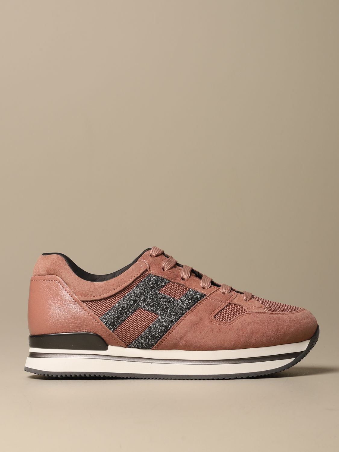 H222 running Hogan suede sneakers with glitter H
