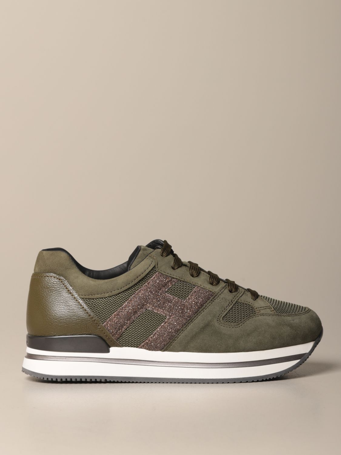 H222 running Hogan sneakers in suede with glitter H