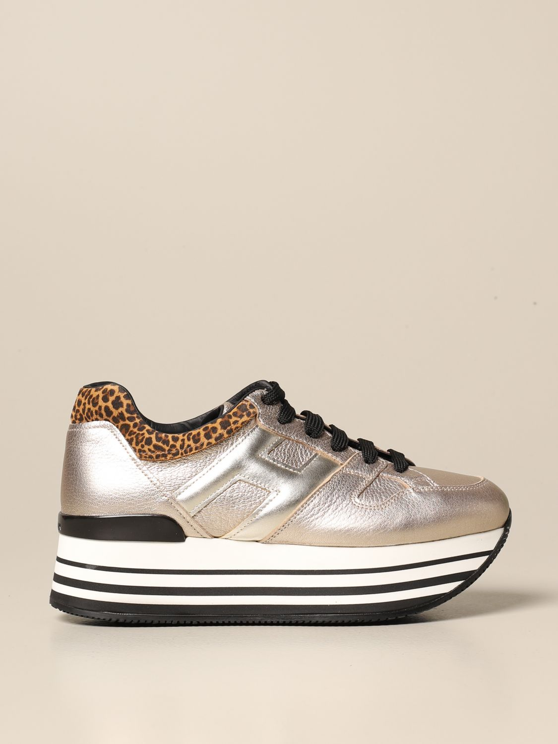H283 maxi Hogan sneakers in laminated leather with animalier ankle